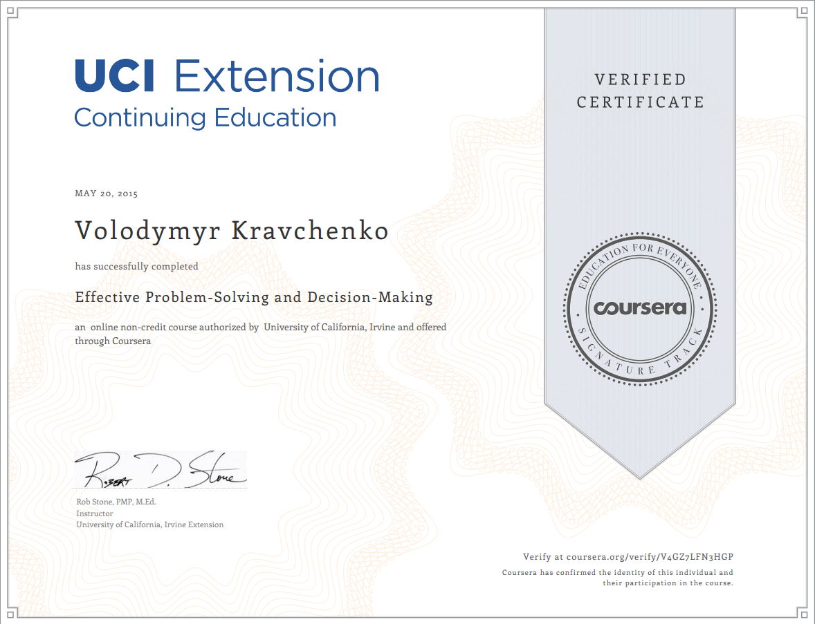 Certificate Coursera Effective Problem-Solving and Decision-Making