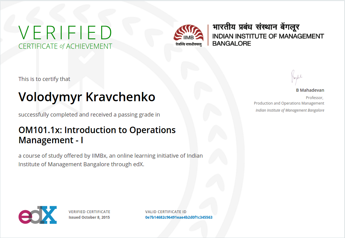 Certificate Intro to Operations Management - I
