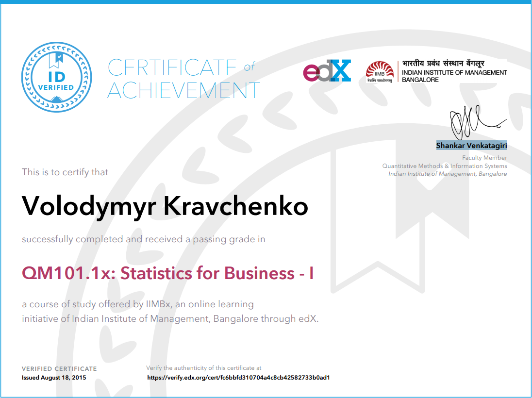Certificate Statistics for Business - I