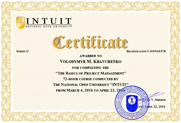 INTUIT Certificate The Basics of Project Management